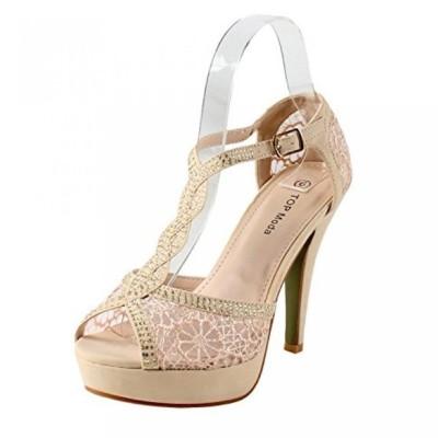 トップモーダ レディース パンプス Top Moda Hy-5 Open Toe Crochet High Heel Sandals
