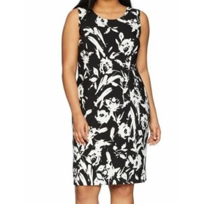 ファッション ドレス Kasper NEW Black White Womens Size 18W Plus Floral Sheath Dress
