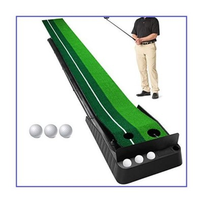 Sinolodo Golf Putting Mat with Baffle Plate and 3 Bonus Golf Balls- Portable Golf Putting Green Indoor for Home, Office - 10ft Long