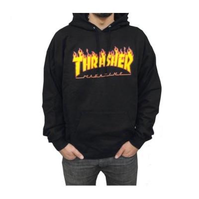 スラッシャー THRASHER/FLAME LOGO HOOD BLACK (S) フード