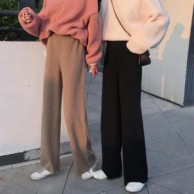 韓国 ファッション レディース ワイドパンツ ボトムス ロング ハイウエスト ウエストゴム ゆったり カジュアル シンプル 秋冬