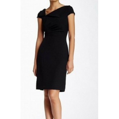 Tahari タハリ ファッション ドレス Tahari by ASL Womens Black Size 10 Ruched V-Neck Sheath Dress