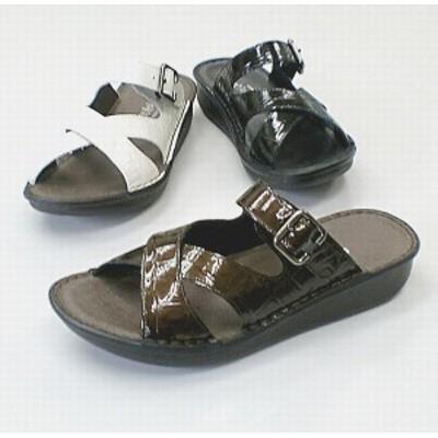 サンダル レディースシューズ レディースファッション 靴 フラット クロスベルト ミュール S M L LL 天然皮革 クロコエナメル加工素材