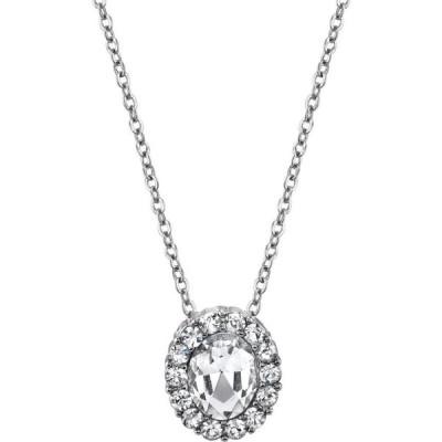 """2028 レディース ネックレス ジュエリー・アクセサリー Silver-Tone Crystal Oval Pendant Necklace 16"""" Adjustable White"""