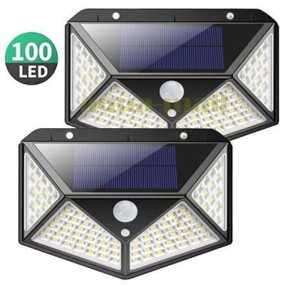 ソーラーライト 屋外 100LED センサーライト 2個セット 人感センサー 4面発光 ガーデンライト 屋外照明 夜間自動点灯 自動消灯 三つの知能モード IP65防水