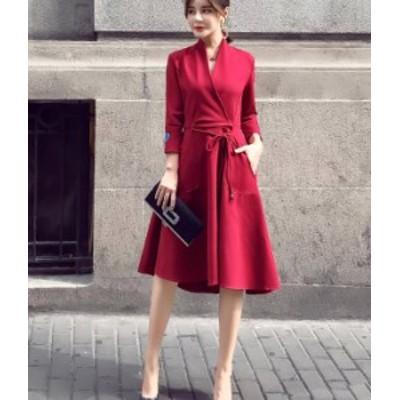 ワンピース ひざ丈 黒 ワインレッド お呼ばれ aライン  秋物 冬物 最新 レディース ファッション 2020 人気 可愛い 大人