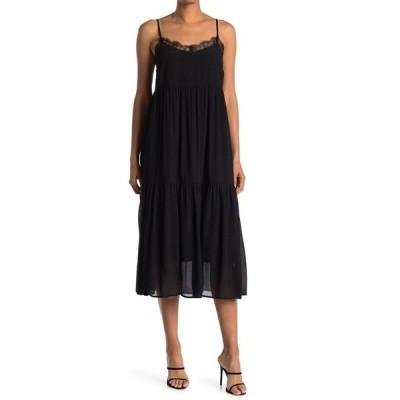 ラッシュ レディース ワンピース トップス Spaghetti Strap Lace Trim Midi Dress BLACK