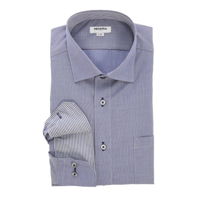 【タカキュー】 形態安定吸水速乾レギュラーフィット ワイドカラー長袖ビジネスドレスシャツワイシャツ メンズ ネイビー M:39-80 TAKA-Q