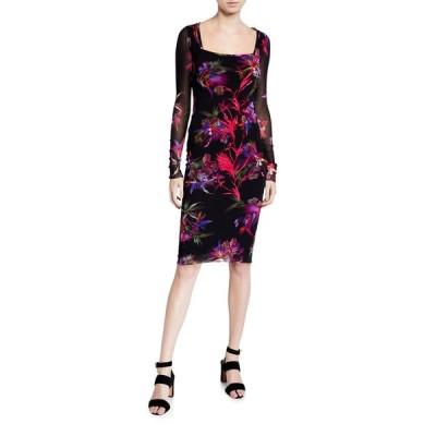 フィッジ レディース ワンピース トップス Floral Square-Neck Long-Sleeve Fitted Dress w/ Embroidery