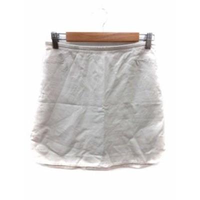 【中古】キャシャレル cacharel スカート 台形 ミニ 36 ベージュ /YI レディース