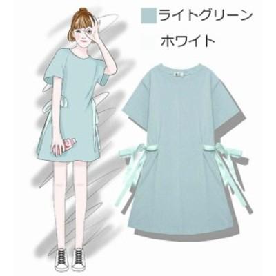 2020年新作 送料無料 ワンピース ミニ チュニック Tシャツ 半袖 無地 フレア シンプル 可愛い 夏用