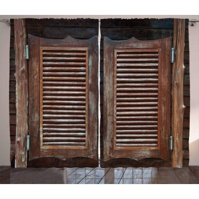 Ambesonne Western Curtains, Antique Themed Traditional Rustic Wild Wes