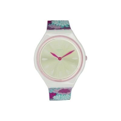 腕時計 スウォッチ Swatch Women's Skinpivoine SVOZ100 Matte White Silicone Quartz Fashion Watch