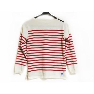 オーシバル ORCIVAL 長袖セーター サイズ14 XL レディース 美品 - 白×レッド クルーネック/ボーダー【還元祭対象】【中古】20200709