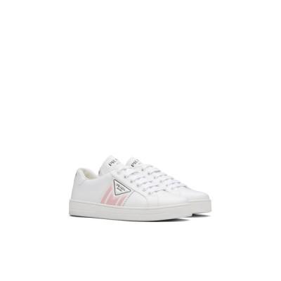 プラダ PRADA スニーカー シューズ 靴 ホワイト ピンク カーフレザー