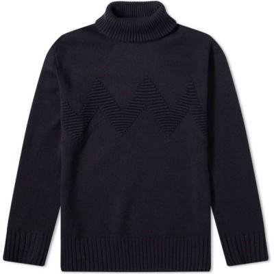 ジュンヤ ワタナベ Junya Watanabe MAN メンズ ニット・セーター トップス zig zag roll neck knit Navy