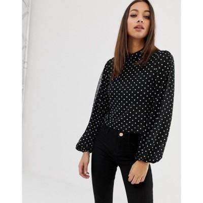 エイソス レディース カットソー トップス ASOS DESIGN top with blouson sleeve and tie neck in spot mesh print Black