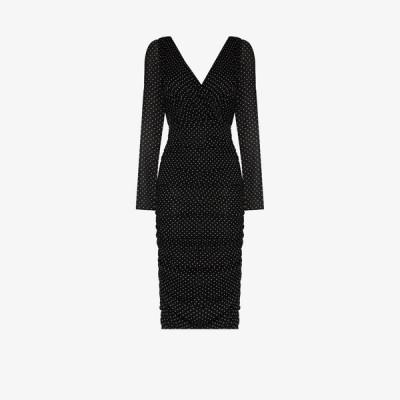 ドルチェ&ガッバーナ Dolce & Gabbana レディース パーティードレス ミドル丈 ワンピース・ドレス Polka Dot Chiffon midi dress black