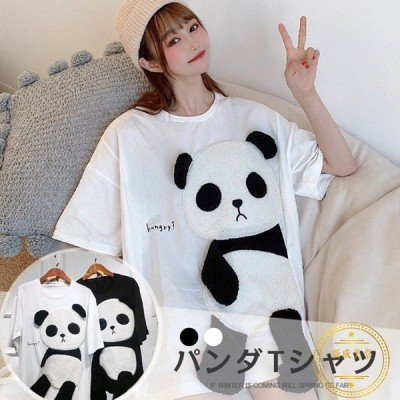 新作パンダTシャツ黒レディース丸首韓国インスタ半袖トップス可愛い体型カバールームウェアカジュアル上着