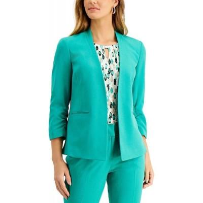 カスパール Kasper レディース スーツ・ジャケット アウター Open Front Ruched-Sleeve Jacket Jade Green