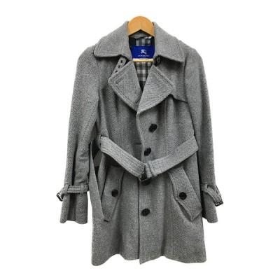 バーバリー ブルーレーベル BURBERRY BLUELABEL ウール 毛 アンゴラ コート ベルト付き レディース サイズ38 M グレー 古着 中古