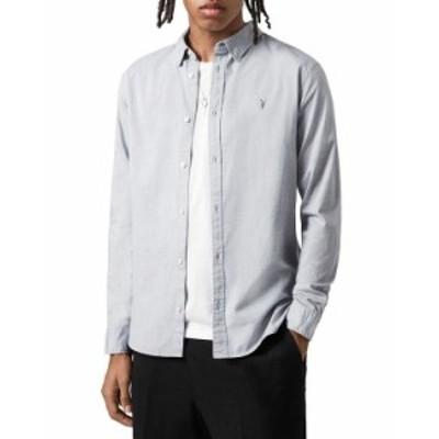 オールセインツ メンズ シャツ トップス Slim Fit Hawthorne Shirt Light Gray