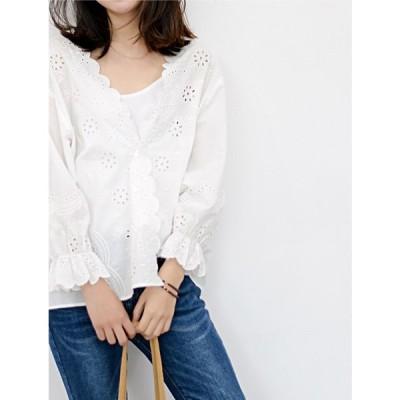 大人可愛い☆刺繍長袖ブラウス シンプルカラー シンプルデザイン ナチュラルデザイン 可愛い 簡単コーデ  フリーサイズ