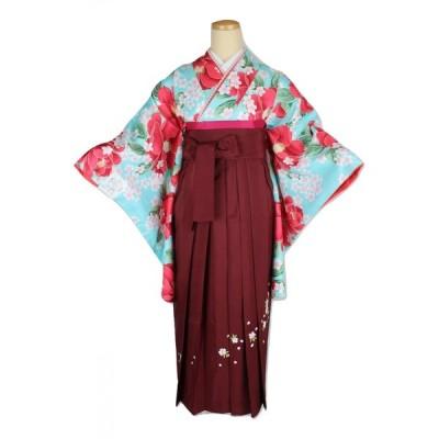 二尺袖 WN-3-3SET 着物 ショート丈 選べる刺繍袴 おまかせ袴下帯 3点セット 卒業式に