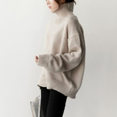 ゆったり 暖か ハイネック ニット セーター レディース 大きいサイズ シンプル 長袖 体型カバー マタニティ