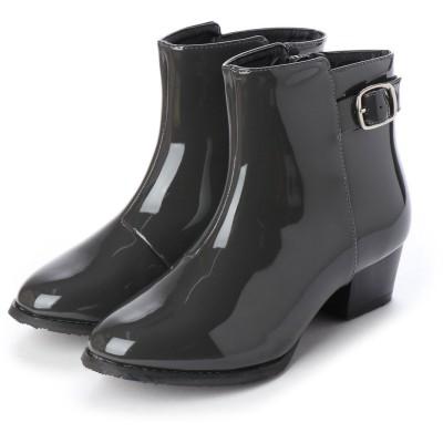 マシュガール masyugirl 【3E/幅広ゆったり・大きいサイズの靴】 ベルト使いレインブーツ (ダークグレーエナメル) SOROTTO