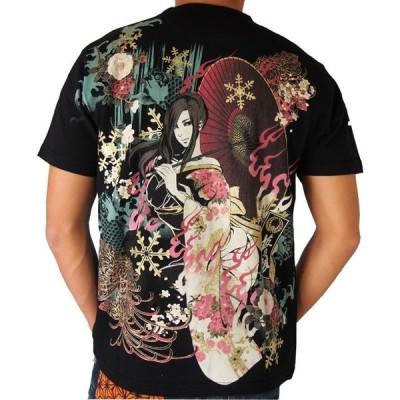 抜刀娘 真夏の雪女 半袖Tシャツ  結愛 和柄Tシャツ アメカジ メンズ 黒 292152