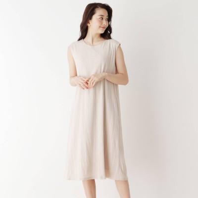 ピンクアドベ pink adobe 【M-LL】楊柳ストライプノースリーブワンピース (ホワイトベージュ)