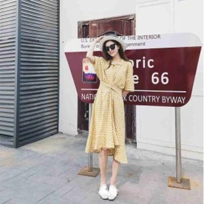 レディース ワンピース ギンガムチェック柄 腰紐 ミディ丈 五分袖 スカート フリーサイズ ワンサイズ 送料無料