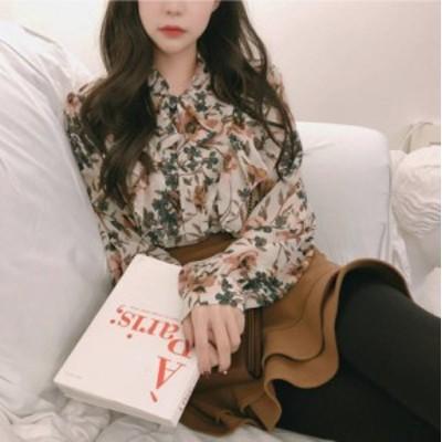 韓国 ファッション レディース ブラウス トップス ボウタイ 花柄 リボンタイ シフォン きれいめ 長袖 レトロ 大人可愛い 春 新作