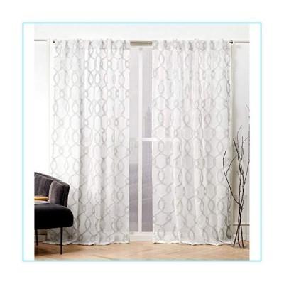 新品Nicole Miller Soft Trellis Curtain Panel, 54x96, Dove Grey, 2 Panels