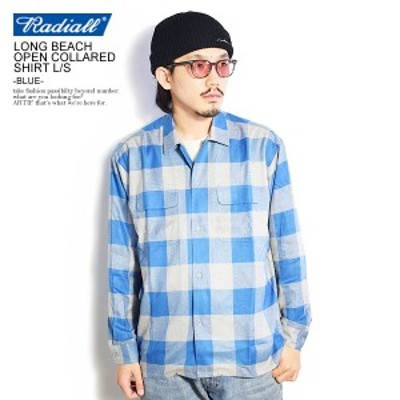 RADIALL ラディアル LONG BEACH - OPEN COLLARED SHIRT L/S -BLUE- radiall メンズ シャツ チェックシャツ 送料無料 ストリート atftps