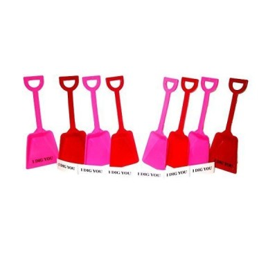 24 Small Toy Plastic Shovels Mix Red & Pink, Made in America 7 Inches Tall, 24 I Dig You Stickers