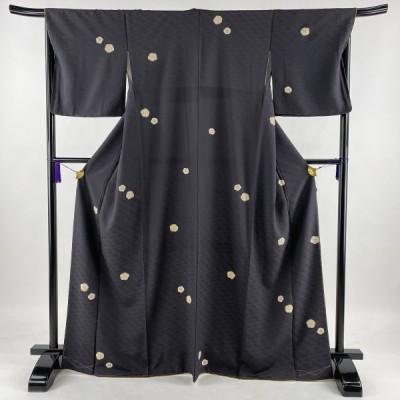 小紋 美品 秀品 梅 地紋 金彩 墨色 袷 168cm 67cm M 正絹 中古