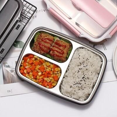 304ステンレス弁当箱はグリッドを分割します韓国食堂の簡単な子供弁当箱(箸とスプーンがありません)