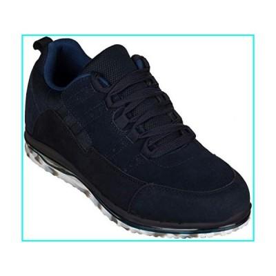 [CALTO] メンズ 目に見えない高さの増加エレベーターの靴 - ダークブルースエード/メッシュ軽量レースアップカ