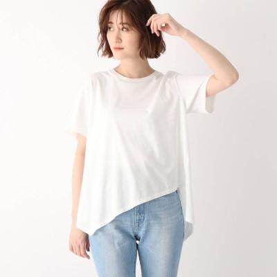 ジェット JET ●【ウォッシャブル】コットンイレギュラーヘムデザインTシャツ (ホワイト)