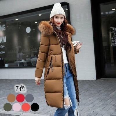 ダウンコートレディース40代ロング丈2021冬アウター中綿コートフード付き防寒暖かい大きいサイズ細身スリム着痩せ