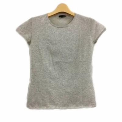 【中古】セオリー theory カットソー Tシャツ クルーネック 無地 半袖 2 グレー レディース