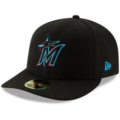 ニューエラ メンズ 帽子 アクセサリー Miami Marlins New Era Authentic Collection OnField Low Profile 59FIFTY Fitted Hat Black