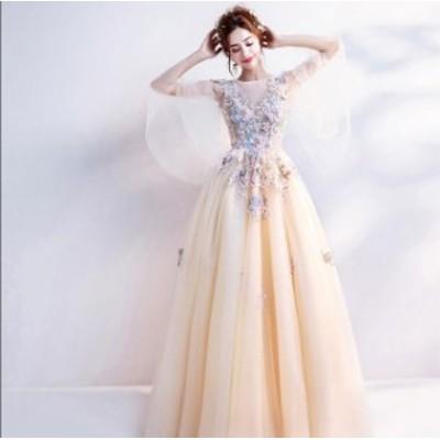 ウェディングドレス ベール 二次会 結婚式 披露宴 花嫁 衣装 スレンダー レース ストール ロングドレス 韓国風 大きいサイズ