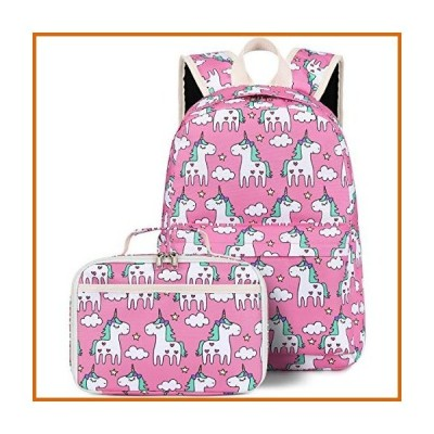 送料無料 Backpack for Kids Girls School Backpack with Lunch Box Preschool Kindergarten BookBag Set (Unicorn Pink)