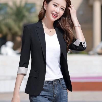 ジャケット レディース 夏 テーラードジャケット 7分袖 ブラック グレー ブルー カジュアル サマージャケット 薄手 大きいサイズ ブレザー アウター 30代 40代