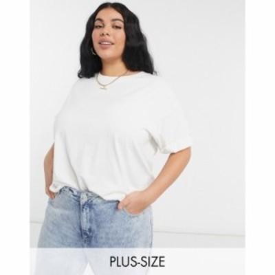 エイソス ASOS Curve レディース Tシャツ トップス Asos Design Curve Relaxed T-Shirt With Roll Sleeve In Bone ライトベージュ