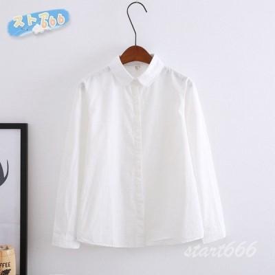 レディース 長袖 ワイシャツ オフィス白シャツ 綿100% 襟付き 大きサイズ ファッション 仕事 通勤