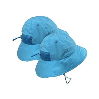 """N'Ice Caps Kids SPF 50+ UV Protection Breathable Adjustable Sun Hat - 2 Hat Pack (Neon Blue - 2 Pack, 52cm (20.5"""") / 18-36mos)【並行輸入品】"""